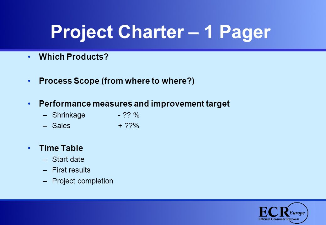 Project Charter – 1 Pager Which Products? Process Scope (from where to where?) Performance measures and improvement target –Shrinkage - ?? % –Sales +
