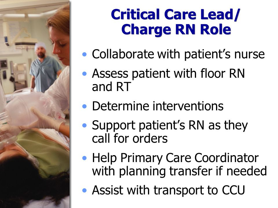 Critical Care Lead/ Charge RN Role Collaborate with patient's nurse Assess patient with floor RN and RT Determine interventions Support patient's RN as they call for orders Help Primary Care Coordinator with planning transfer if needed Assist with transport to CCU
