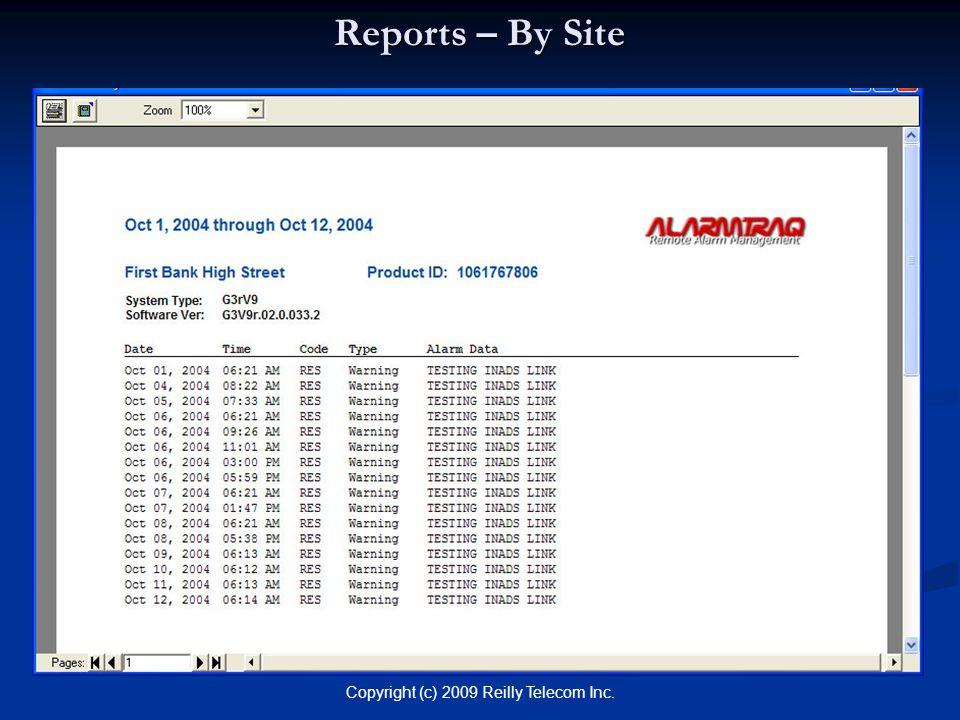 Copyright (c) 2009 Reilly Telecom Inc. Reports – By Site