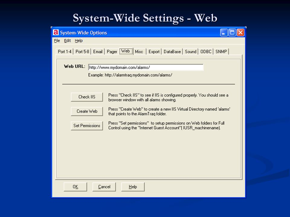System-Wide Settings - Web