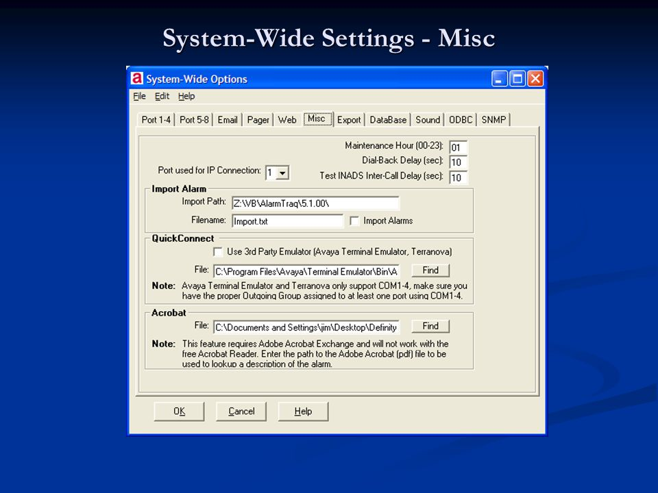 System-Wide Settings - Misc