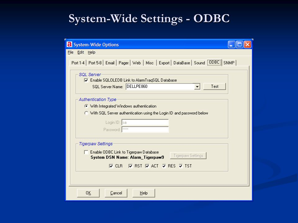 System-Wide Settings - ODBC