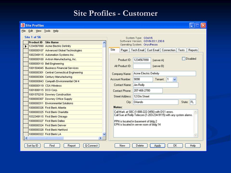 Site Profiles - Customer