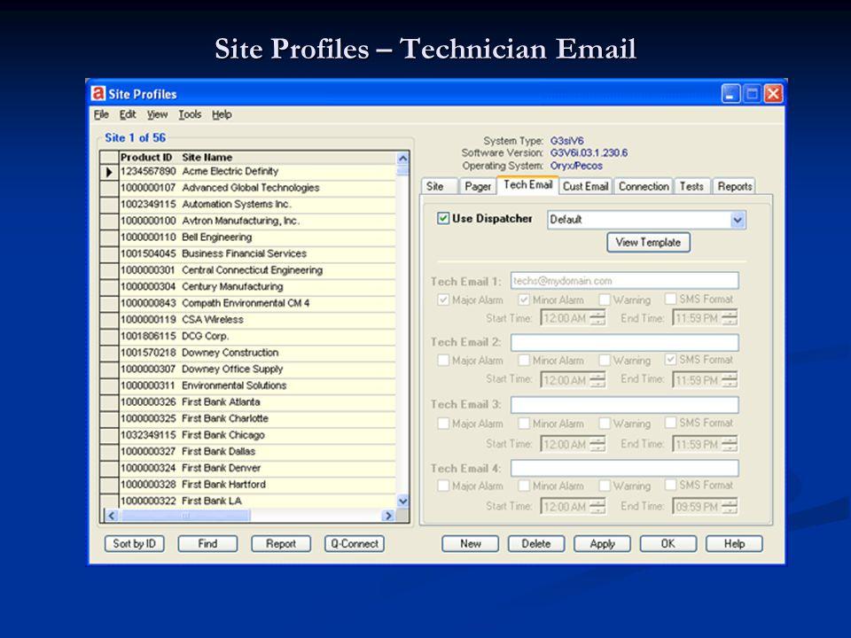 Site Profiles – Technician Email