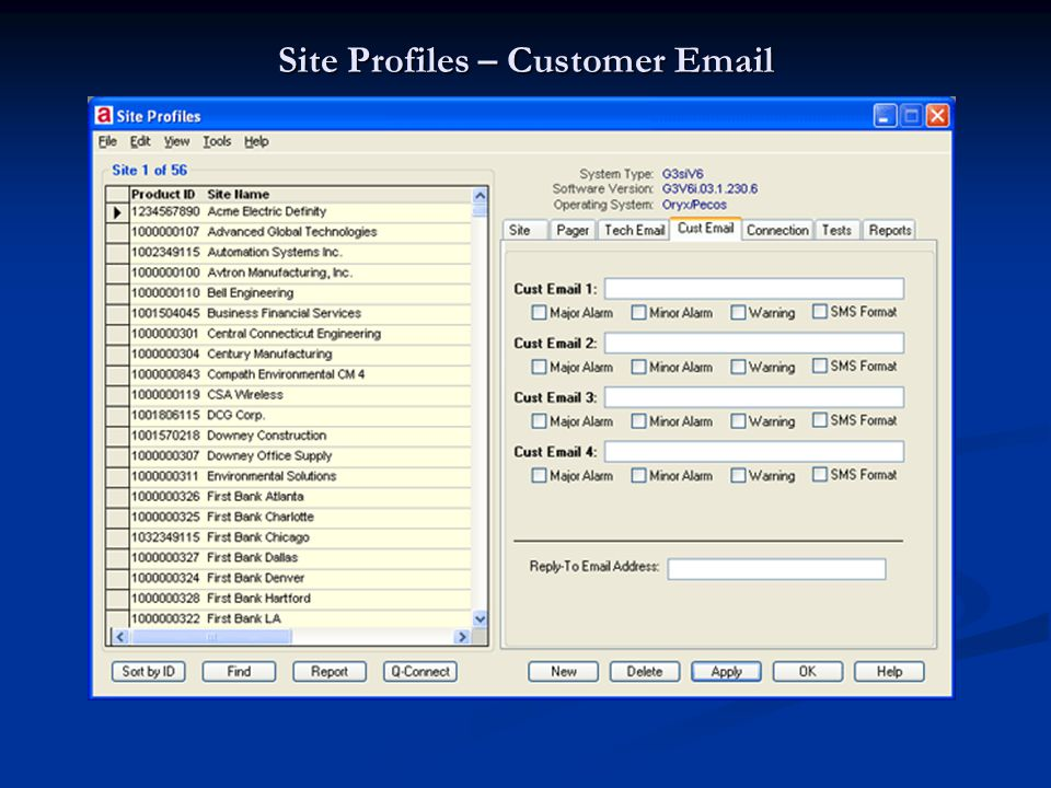 Site Profiles – Customer Email