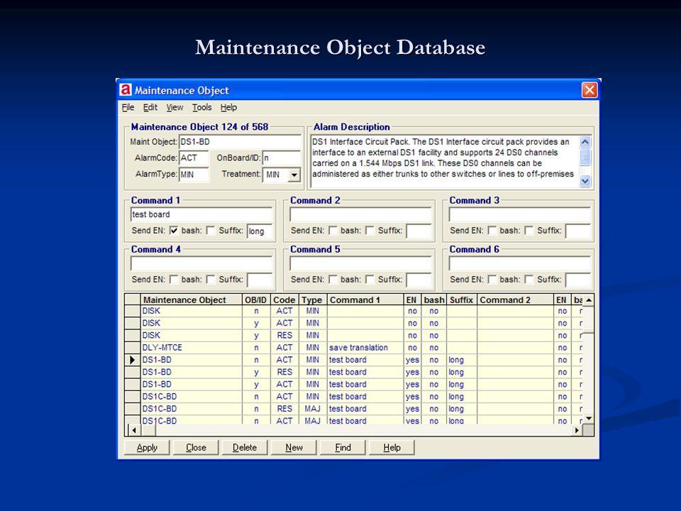 Maintenance Object Database
