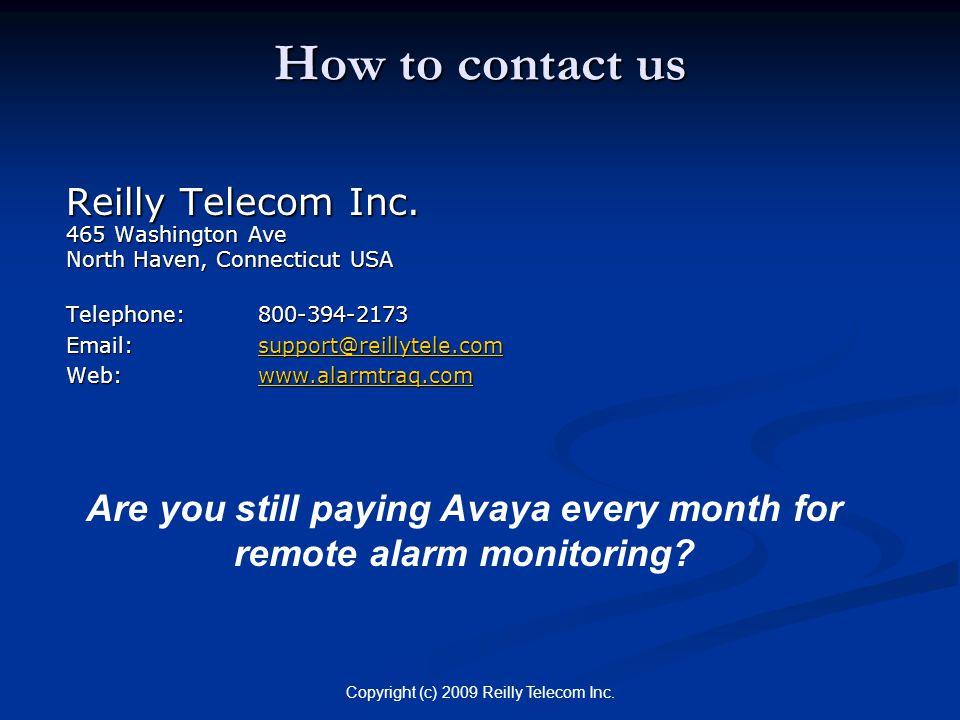 Copyright (c) 2009 Reilly Telecom Inc. How to contact us Reilly Telecom Inc.