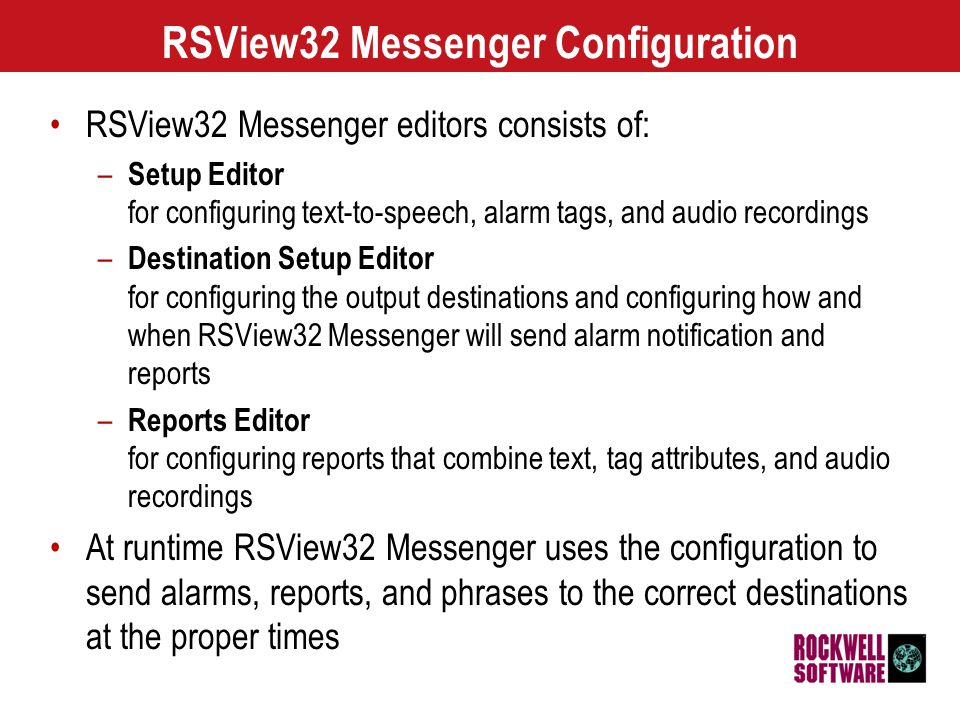 14 RSView32 SPC Packaging and Pricing RSView32 Messenger –Included on the RSView32 Extensions CD at no additional cost RSView32 Messenger Pro –9301-MSGRPROENE$800 (US)