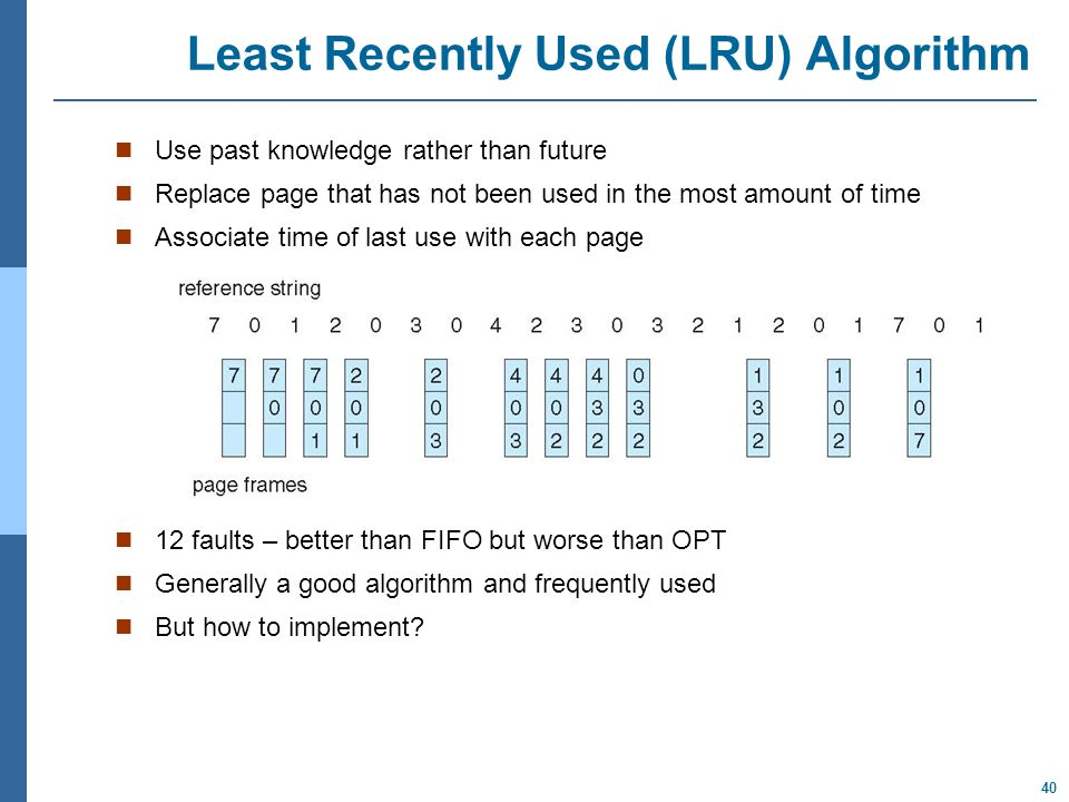 40 Least Recently Used (LRU) Algorithm Use past knowledge rather than future Replace page that has not been used in the most amount of time Associate time of last use with each page 12 faults – better than FIFO but worse than OPT Generally a good algorithm and frequently used But how to implement