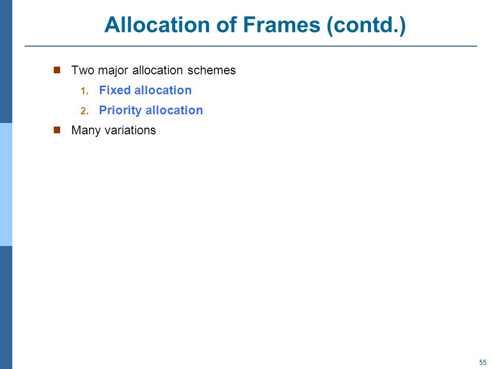 55 Allocation of Frames (contd.) Two major allocation schemes 1.