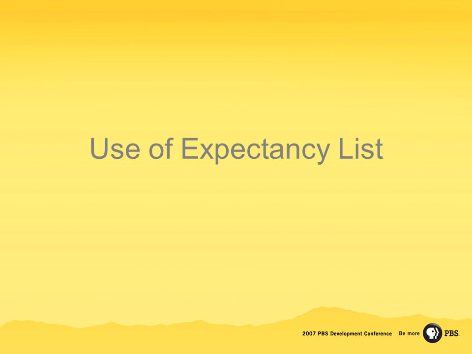 Use of Expectancy List