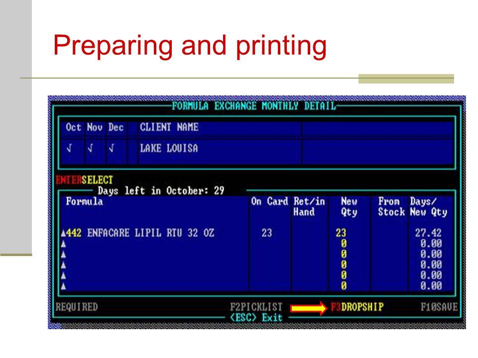 Preparing and printing
