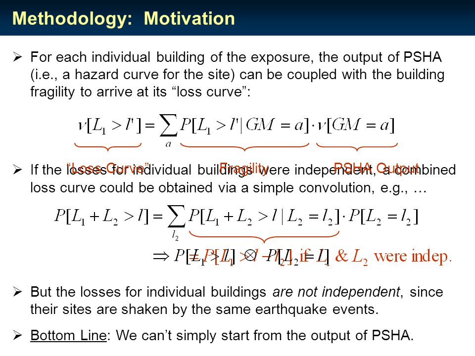  For each individual building of the exposure, the output of PSHA (i.e., a hazard curve for the site) can be coupled with the building fragility to arrive at its loss curve :  If the losses for individual buildings were independent, a combined loss curve could be obtained via a simple convolution, e.g., …  But the losses for individual buildings are not independent, since their sites are shaken by the same earthquake events.