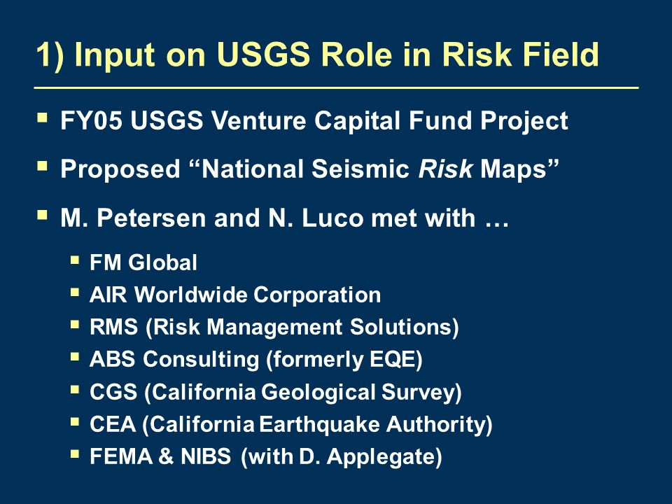 1) Input on USGS Role in Risk Field  FY05 USGS Venture Capital Fund Project  Proposed National Seismic Risk Maps  M.