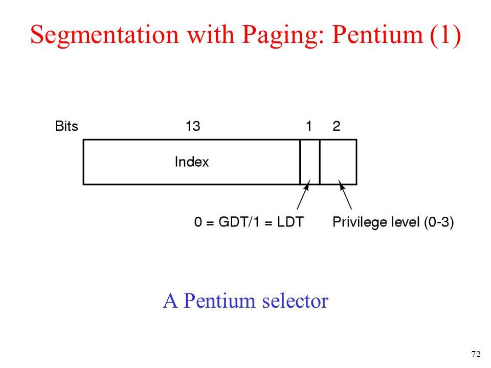 72 Segmentation with Paging: Pentium (1) A Pentium selector