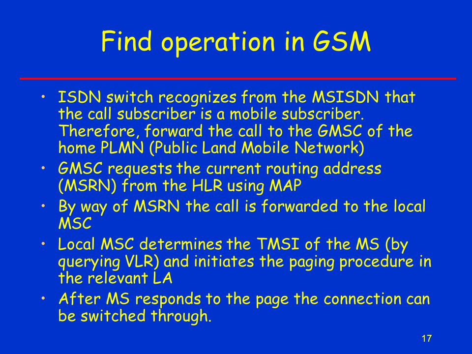 17 Find operation in GSM ISDN switch recognizes from the MSISDN that the call subscriber is a mobile subscriber.