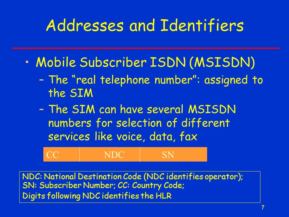 7 Addresses and Identifiers Mobile Subscriber ISDN (MSISDN) –The real telephone number : assigned to the SIM –The SIM can have several MSISDN numbers for selection of different services like voice, data, fax CCNDCSN NDC: National Destination Code (NDC identifies operator); SN: Subscriber Number; CC: Country Code; Digits following NDC identifies the HLR