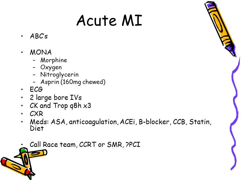 Acute MI ABC's MONA –Morphine –Oxygen –Nitroglycerin –Asprin (160mg chewed) ECG 2 large bore IVs CK and Trop q8h x3 CXR Meds: ASA, anticoagulation, ACEi, B-blocker, CCB, Statin, Diet Call Race team, CCRT or SMR, PCI