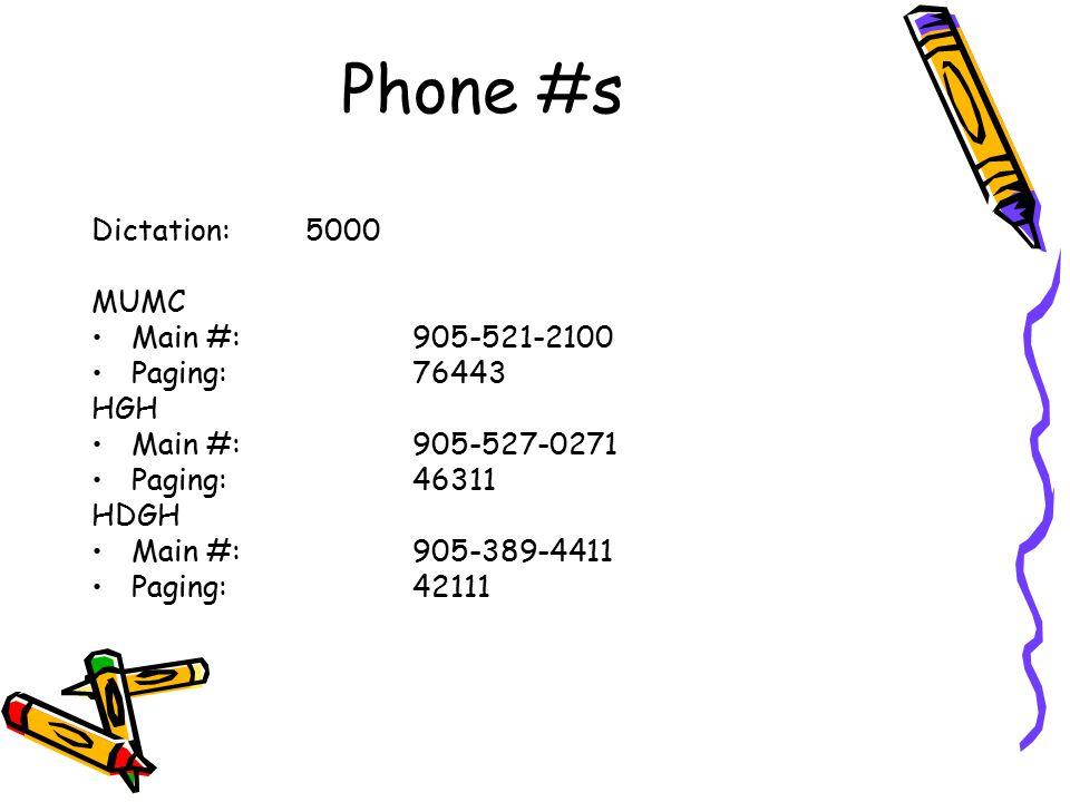 Phone #s Dictation:5000 MUMC Main #: 905-521-2100 Paging:76443 HGH Main #: 905-527-0271 Paging:46311 HDGH Main #: 905-389-4411 Paging:42111