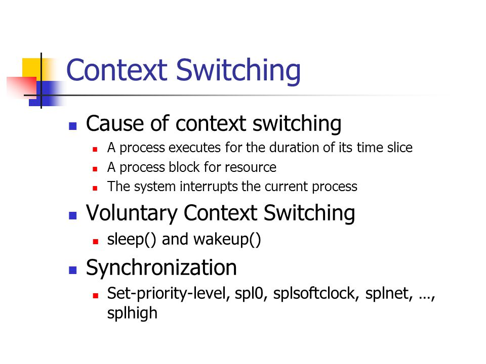 Context Switching Cause of context switching A process executes for the duration of its time slice A process block for resource The system interrupts the current process Voluntary Context Switching sleep() and wakeup() Synchronization Set-priority-level, spl0, splsoftclock, splnet, …, splhigh
