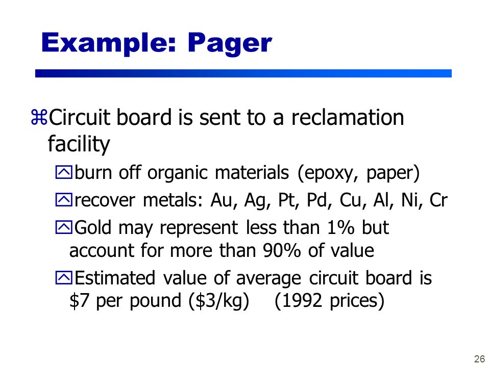 26 Example: Pager zCircuit board is sent to a reclamation facility yburn off organic materials (epoxy, paper) yrecover metals: Au, Ag, Pt, Pd, Cu, Al, Ni, Cr yGold may represent less than 1% but account for more than 90% of value yEstimated value of average circuit board is $7 per pound ($3/kg) (1992 prices)