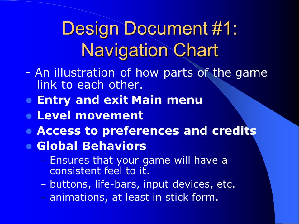 Design Document #1: Navigation Chart - An illustration of how parts of the game link to each other.