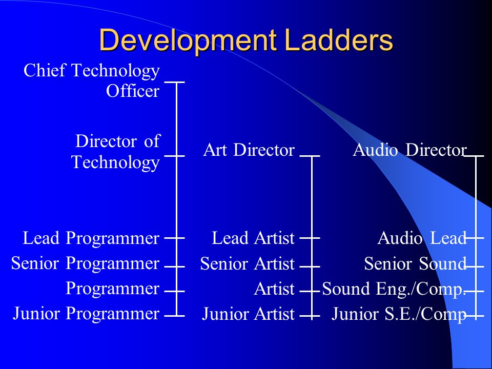 Development Ladders Chief Technology Officer Director of Technology Lead Programmer Senior Programmer Programmer Junior Programmer Art Director Lead Artist Senior Artist Artist Junior Artist Audio Director Audio Lead Senior Sound Sound Eng./Comp.