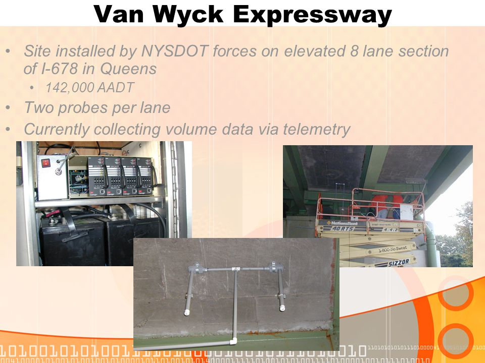 Van Wyck Expressway Site installed by NYSDOT forces on elevated 8 lane section of I-678 in Queens 142,000 AADT Two probes per lane Currently collecting volume data via telemetry