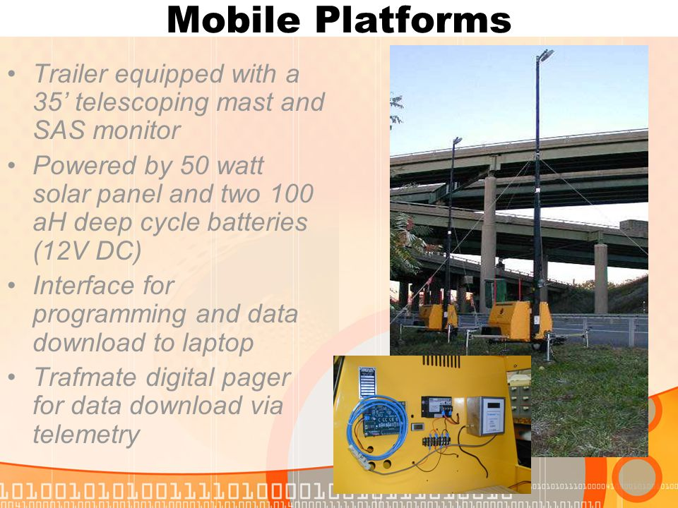 Mobile Platforms Trailer equipped with a 35' telescoping mast and SAS monitor Powered by 50 watt solar panel and two 100 aH deep cycle batteries (12V