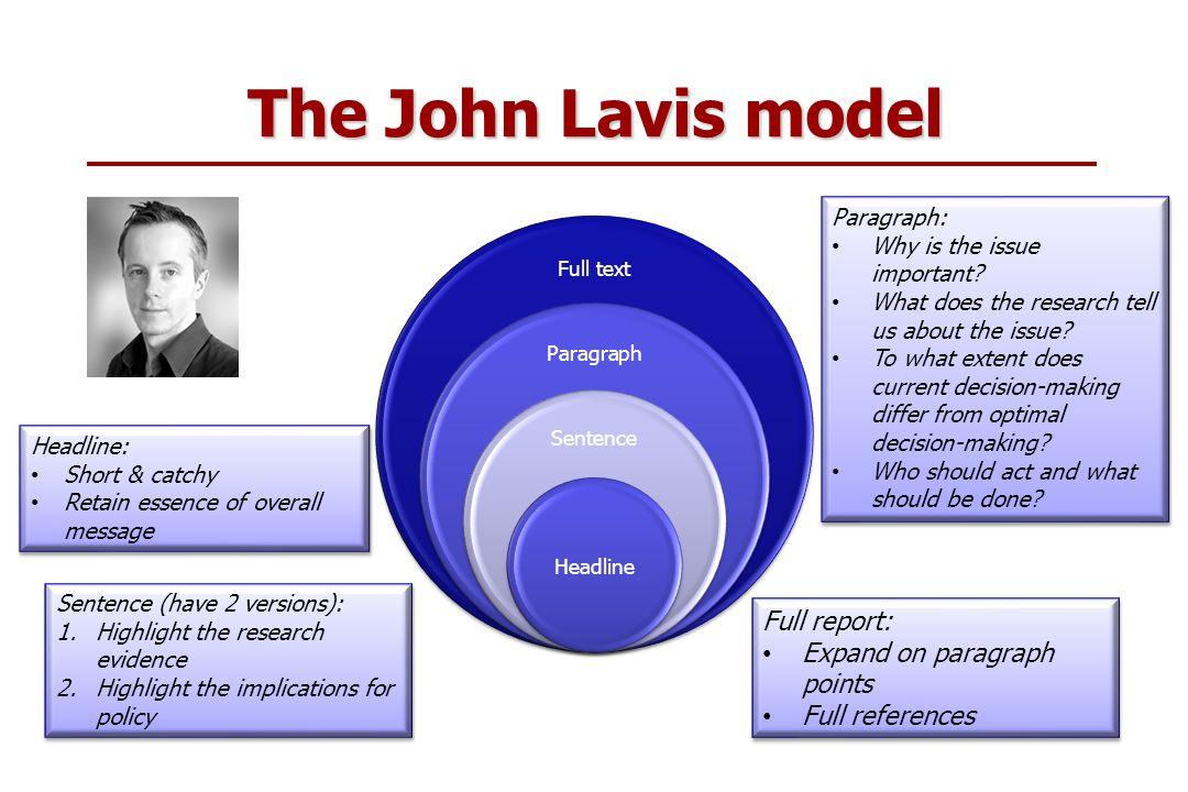 The John Lavis model Full text Paragraph Sentence Headline Headline: Short & catchy Retain essence of overall message Headline: Short & catchy Retain