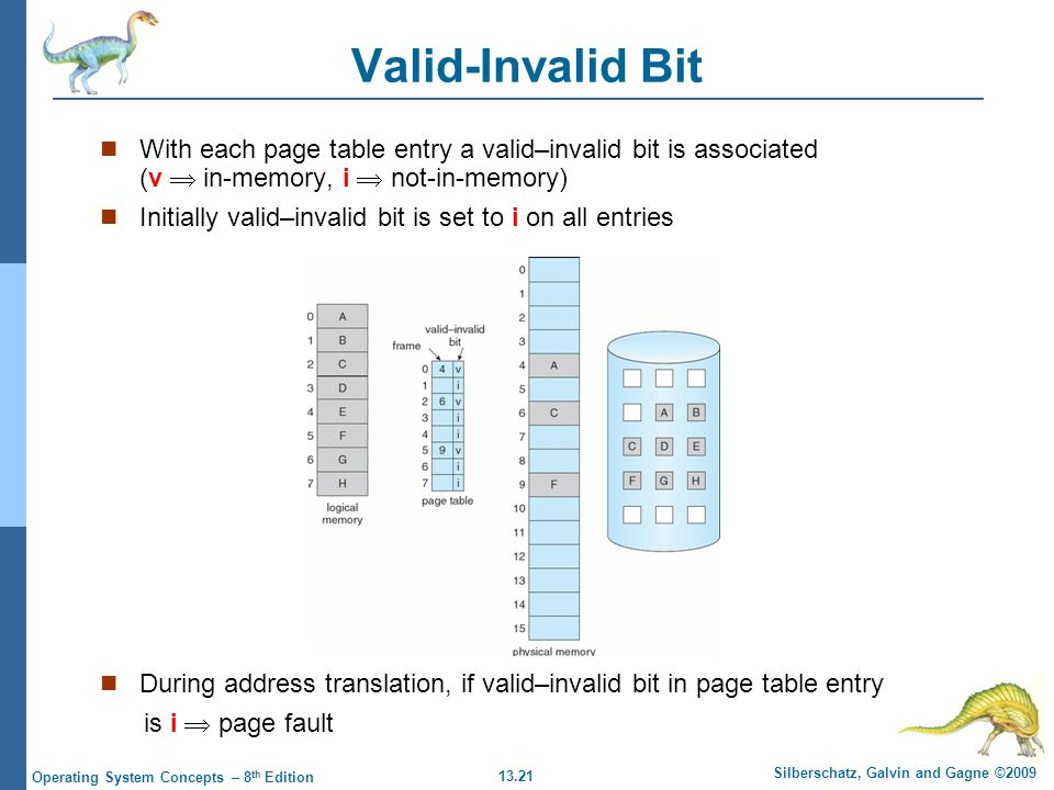 13.21 Silberschatz, Galvin and Gagne ©2009 Operating System Concepts – 8 th Edition Valid-Invalid Bit With each page table entry a valid–invalid bit is associated (v  in-memory, i  not-in-memory) Initially valid–invalid bit is set to i on all entries During address translation, if valid–invalid bit in page table entry is i  page fault