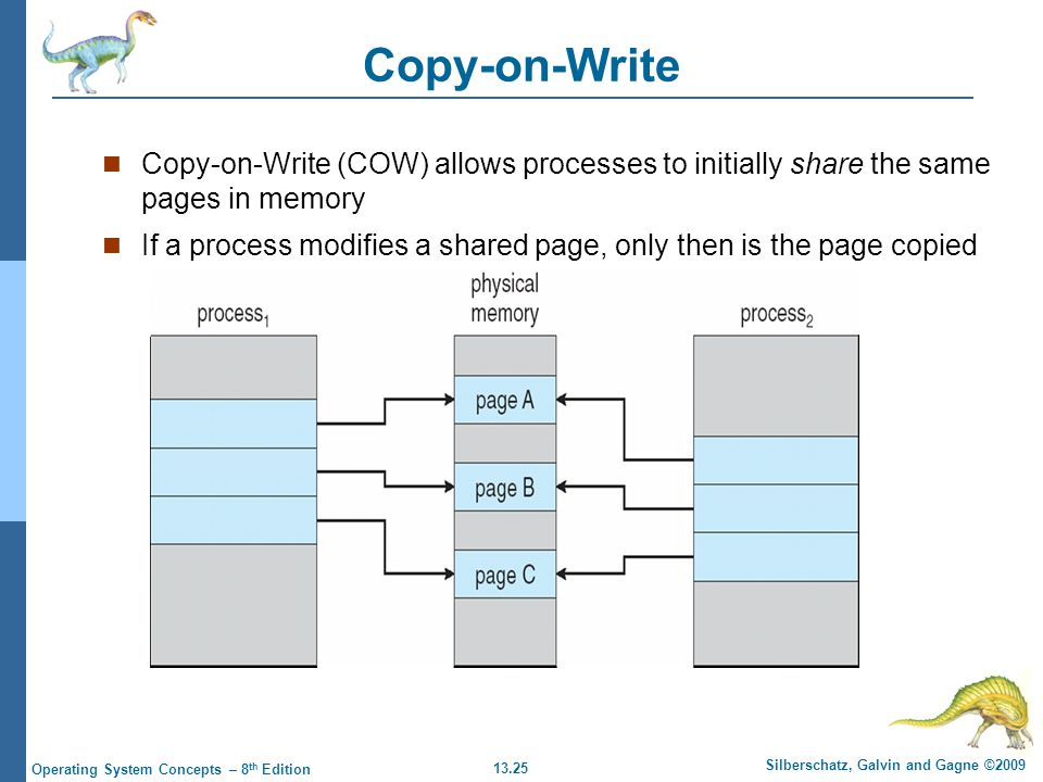 13.25 Silberschatz, Galvin and Gagne ©2009 Operating System Concepts – 8 th Edition Copy-on-Write Copy-on-Write (COW) allows processes to initially share the same pages in memory If a process modifies a shared page, only then is the page copied