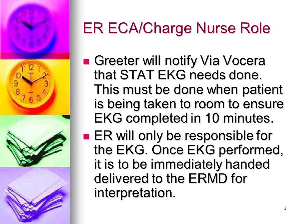 3 ER ECA/Charge Nurse Role Greeter will notify Via Vocera that STAT EKG needs done.