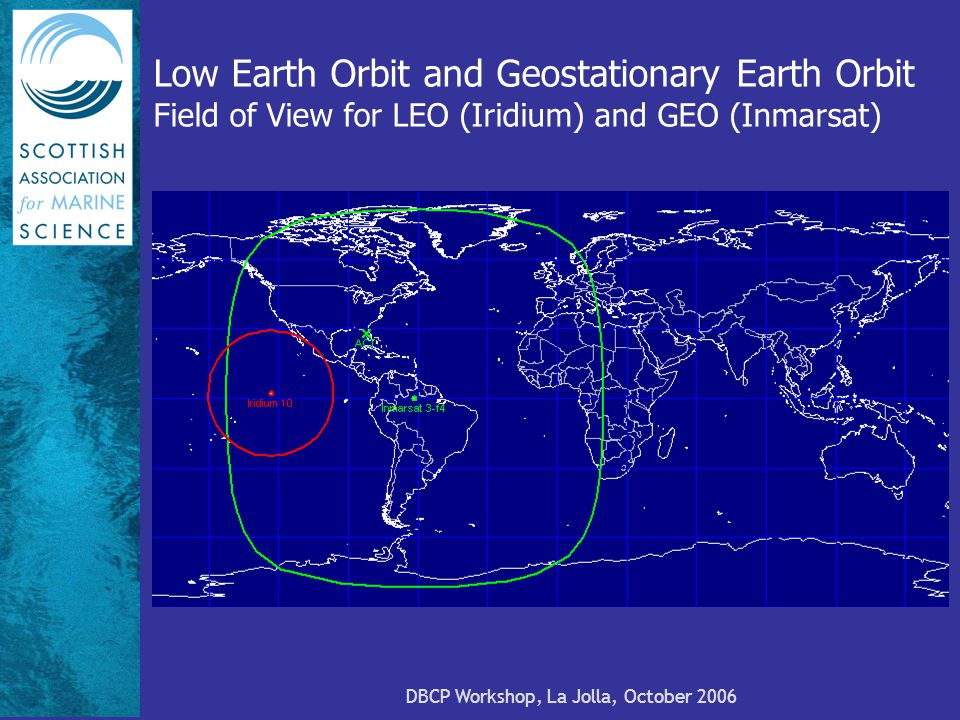 DBCP Workshop, La Jolla, October 2006 Low Earth Orbit and Geostationary Earth Orbit Field of View for LEO (Iridium) and GEO (Inmarsat)
