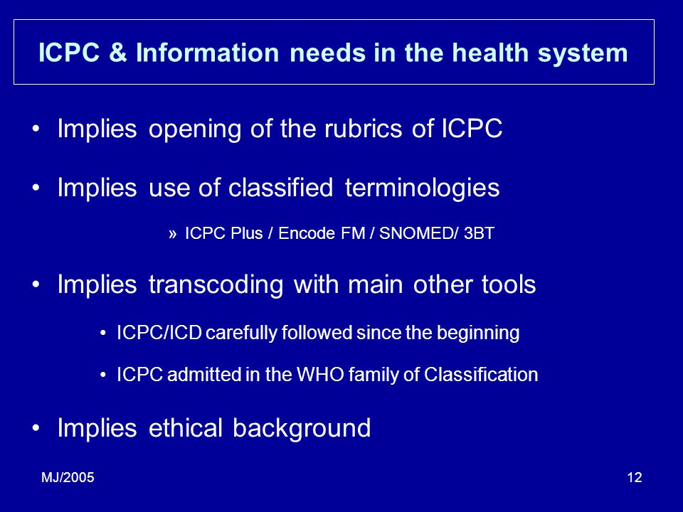 MJ/200512 ICPC & Information needs in the health system Implies opening of the rubrics of ICPC Implies use of classified terminologies »ICPC Plus / Encode FM / SNOMED/ 3BT Implies transcoding with main other tools ICPC/ICD carefully followed since the beginning ICPC admitted in the WHO family of Classification Implies ethical background