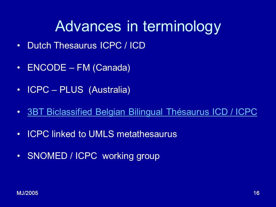 MJ/200516 Advances in terminology Dutch Thesaurus ICPC / ICD ENCODE – FM (Canada) ICPC – PLUS (Australia) 3BT Biclassified Belgian Bilingual Thésaurus ICD / ICPC ICPC linked to UMLS metathesaurus SNOMED / ICPC working group