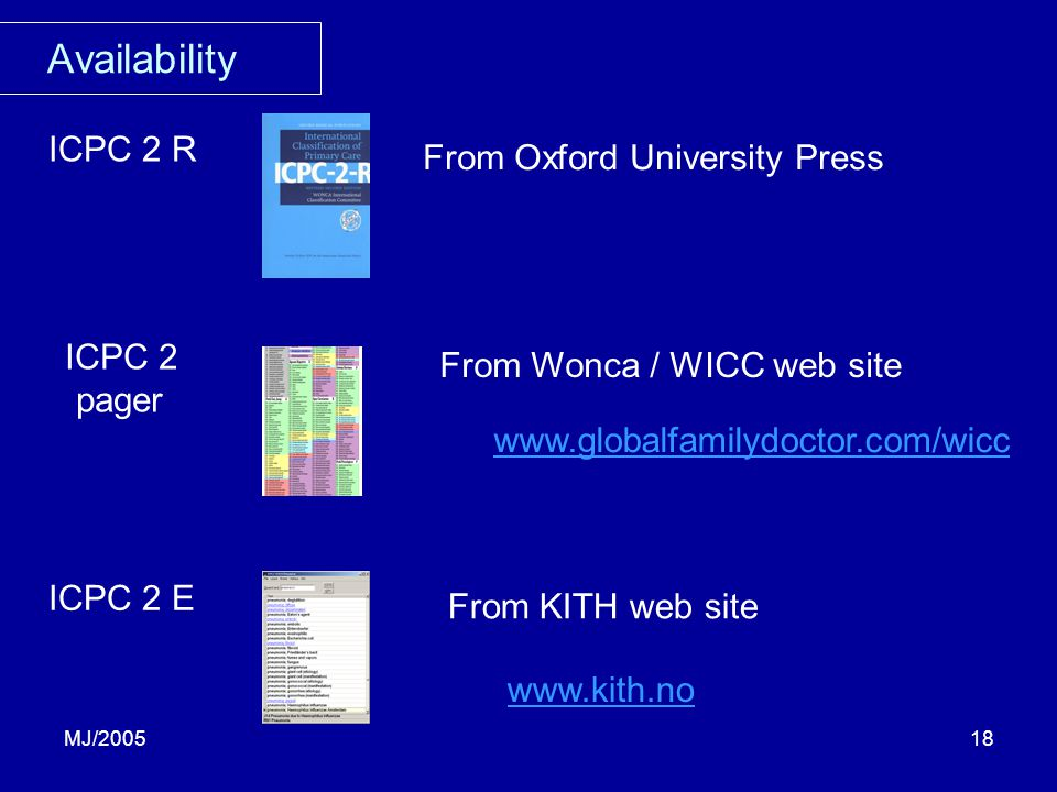 MJ/200518 Availability ICPC 2 R From Oxford University Press ICPC 2 pager From KITH web site ICPC 2 E From Wonca / WICC web site www.globalfamilydoctor.com/wicc www.kith.no
