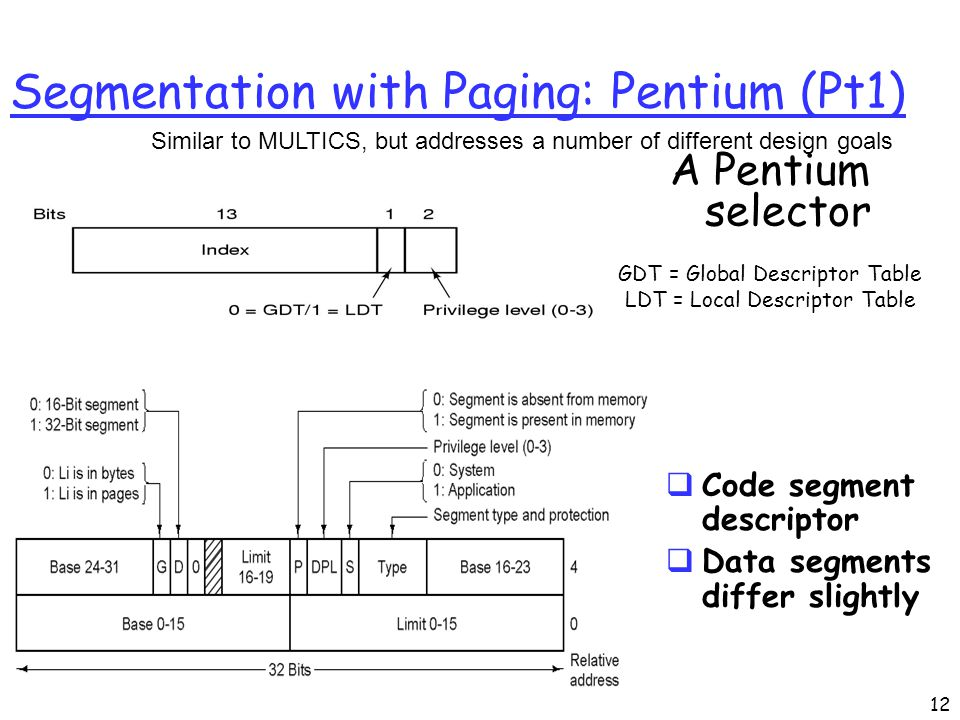 CS552 Segmentation with Paging: Pentium (Pt1) A Pentium selector GDT = Global Descriptor Table LDT = Local Descriptor Table Similar to MULTICS, but addresses a number of different design goals  Code segment descriptor  Data segments differ slightly 12