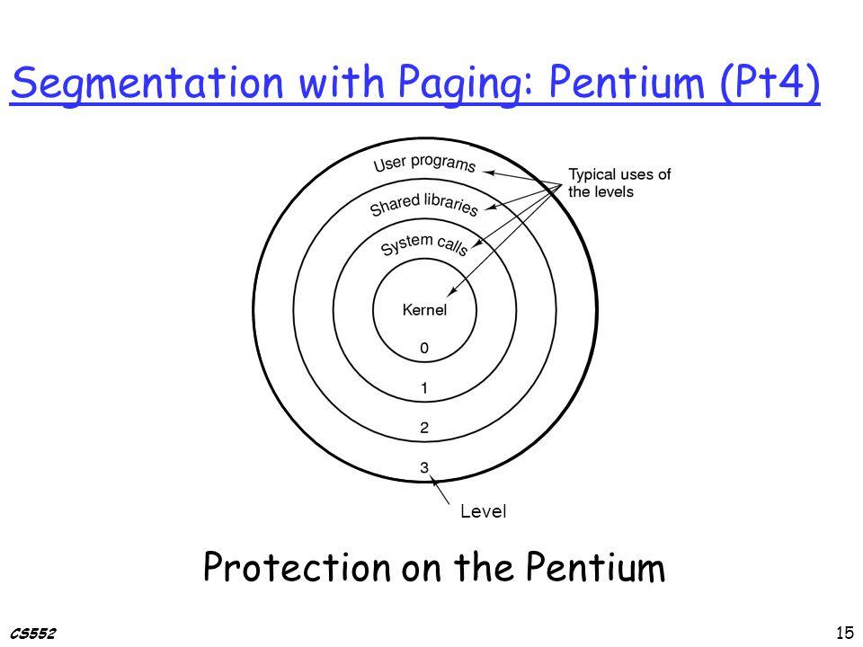 CS552 Segmentation with Paging: Pentium (Pt4) Protection on the Pentium Level 15