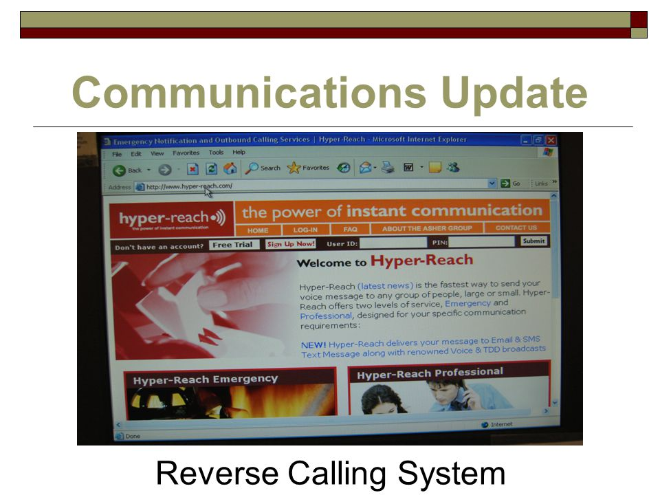 Communications Update Reverse Calling System