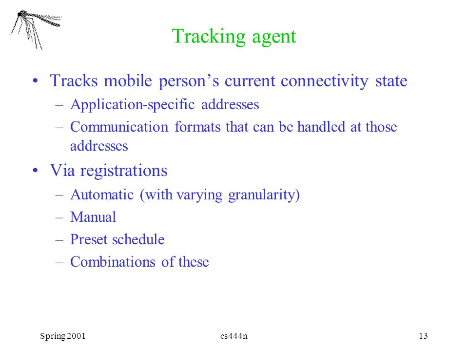 Spring 2001cs444n13 Tracking agent Tracks mobile person's current connectivity state –Application-specific addresses –Communication formats that can b