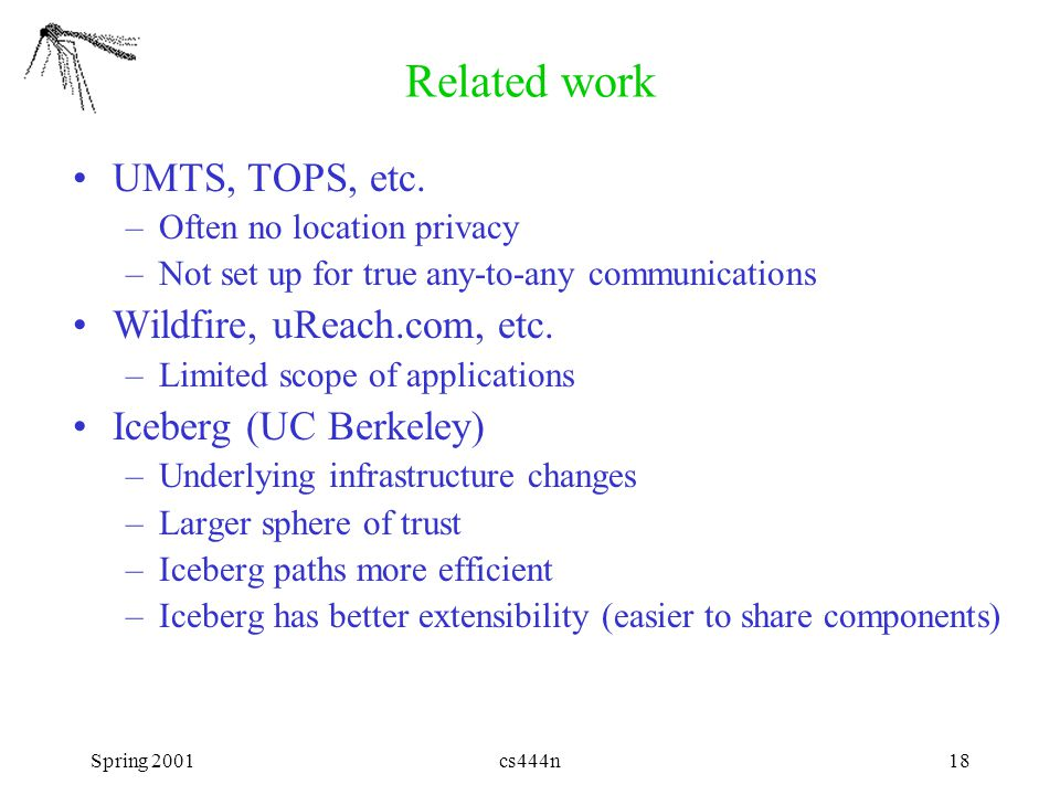 Spring 2001cs444n18 Related work UMTS, TOPS, etc.