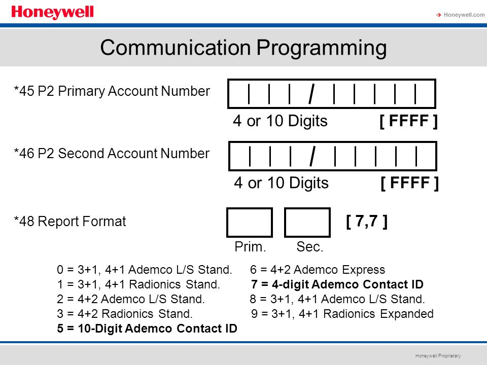 Honeywell Proprietary Honeywell.com  Communication Programming *45 P2 Primary Account Number *46 P2 Second Account Number *48 Report Format 4 or 10 D