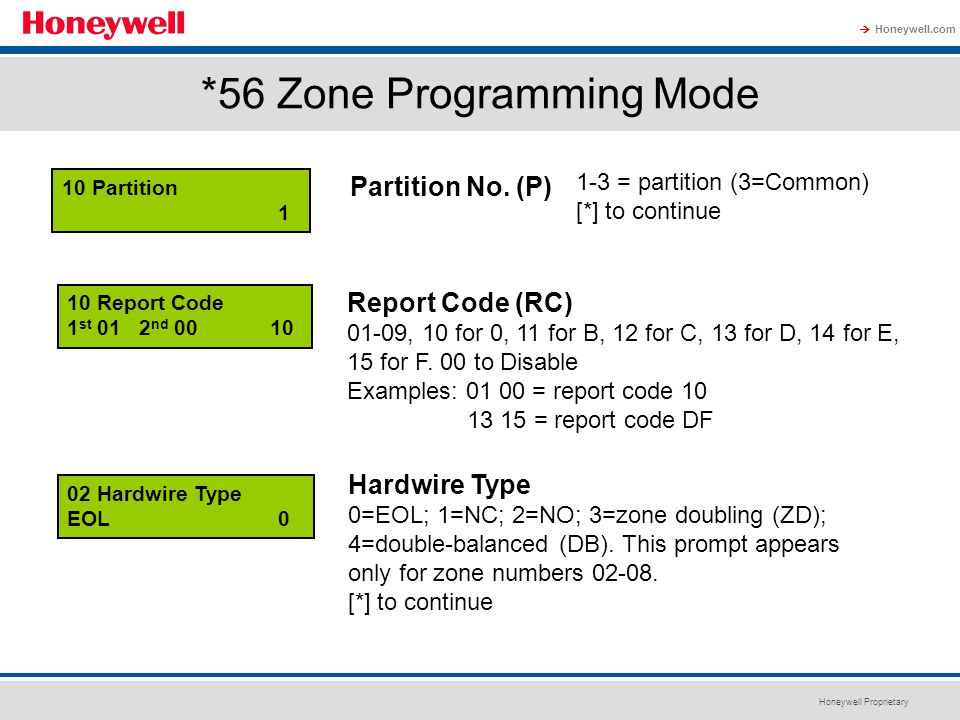Honeywell Proprietary Honeywell.com  *56 Zone Programming Mode 10 Partition 1 Partition No. (P) 02 Hardwire Type EOL 0 Report Code (RC) 01-09, 10 for