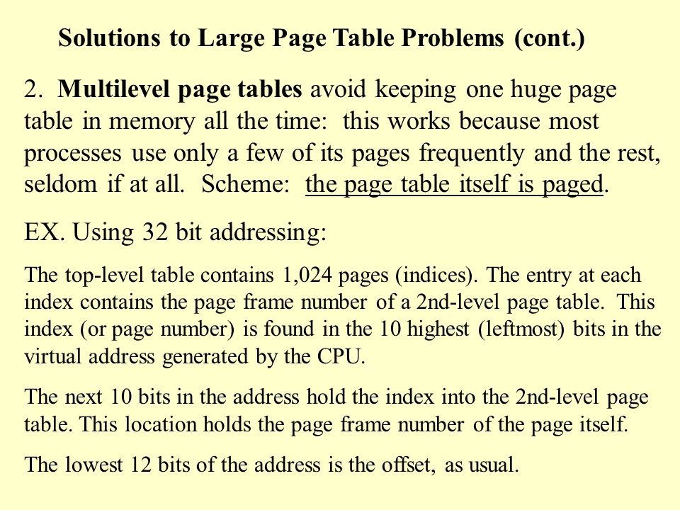 Solutions to Large Page Table Problems 1.