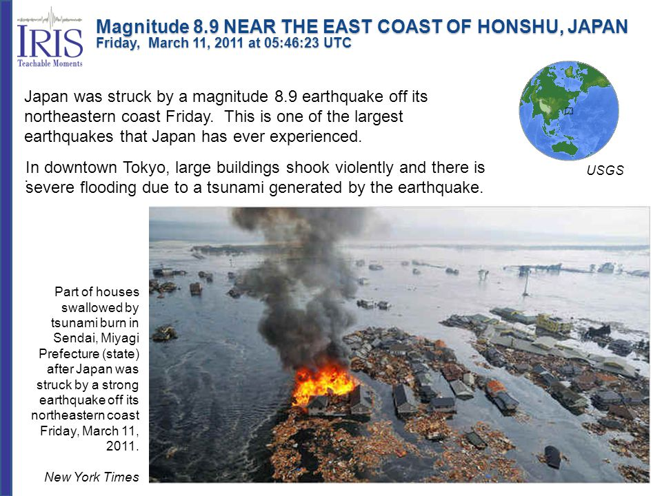 Tsunami waves swept away houses and cars in northern Japan and pushed ships aground.