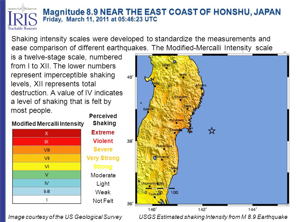 Modified Mercalli Intensity Perceived Shaking Extreme Violent Severe Very Strong Strong Moderate Light Weak Not Felt USGS Estimated shaking Intensity from M 8.9 Earthquake Shaking intensity scales were developed to standardize the measurements and ease comparison of different earthquakes.