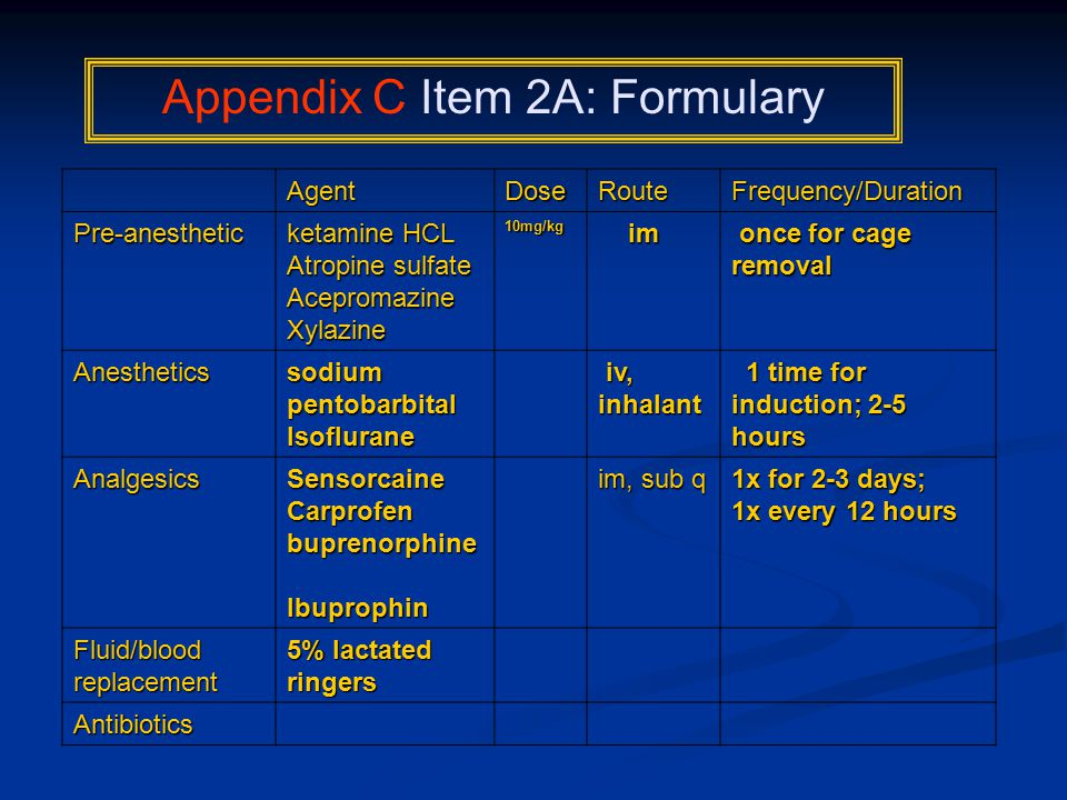 AgentDoseRouteFrequency/Duration Pre-anesthetic ketamine HCL ketamine HCL Atropine sulfate AcepromazineXylazine10mg/kg im once for cage removal once for cage removal Anesthetics sodium pentobarbital Isoflurane iv, inhalant iv, inhalant 1 time for induction; 2-5 hours 1 time for induction; 2-5 hours AnalgesicsSensorcaineCarprofen buprenorphine buprenorphine Ibuprophin im, sub q 1x for 2-3 days; 1x every 12 hours 1x every 12 hours Fluid/blood replacement 5% lactated ringers Antibiotics Appendix C Item 2A: Formulary