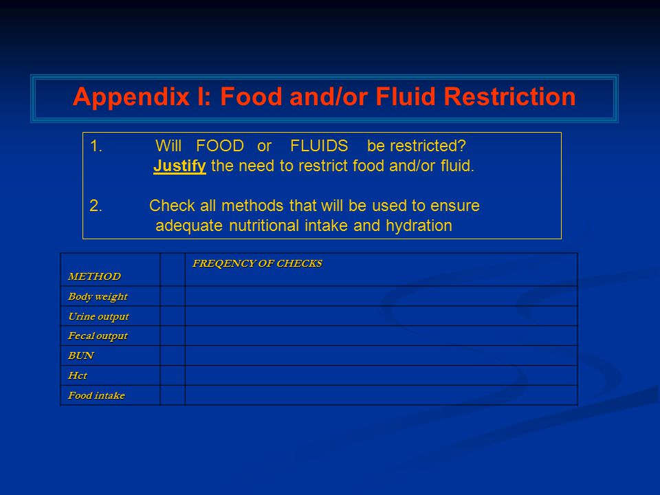 METHOD FREQENCY OF CHECKS Body weight Urine output Fecal output BUN Hct Food intake Appendix I: Food and/or Fluid Restriction 1.Will FOOD or FLUIDS be restricted.