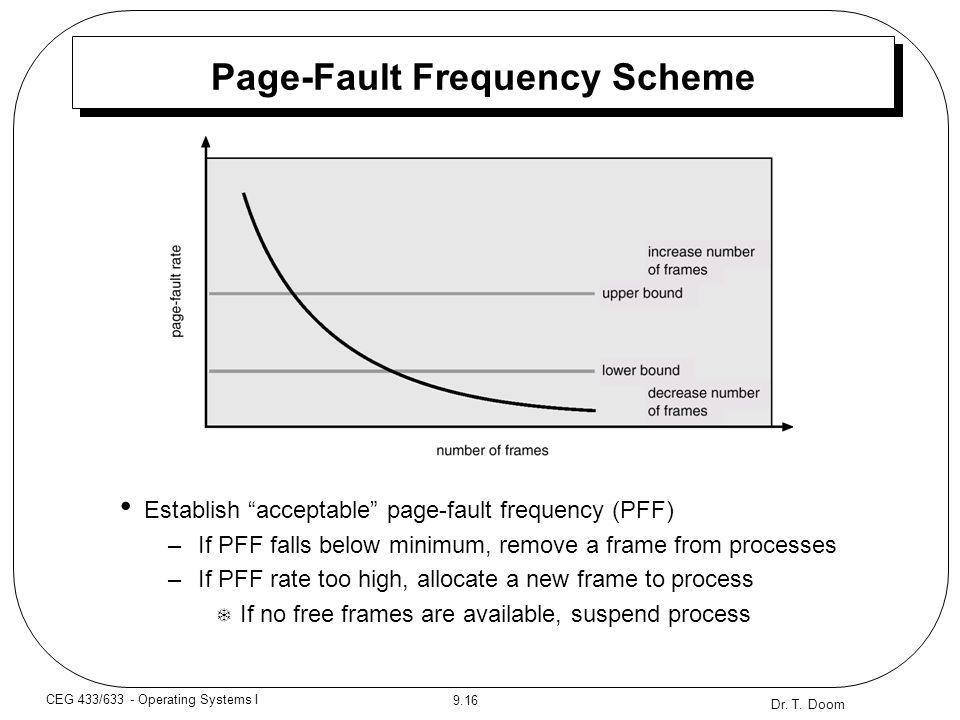 """Dr. T. Doom 9.16 CEG 433/633 - Operating Systems I Page-Fault Frequency Scheme Establish """"acceptable"""" page-fault frequency (PFF) –If PFF falls below m"""